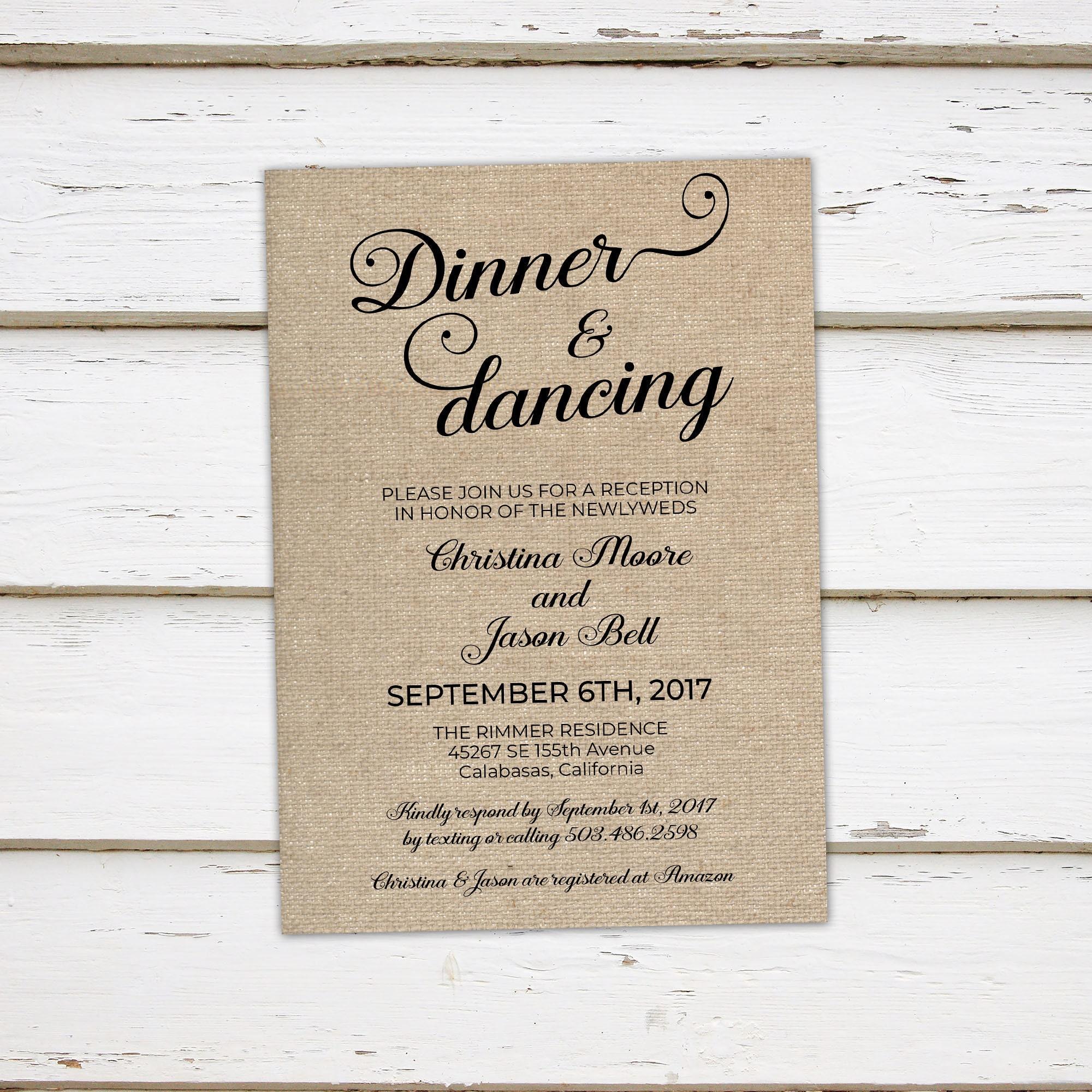Printable Wedding Reception Invitation, Dinner and Dancing ...