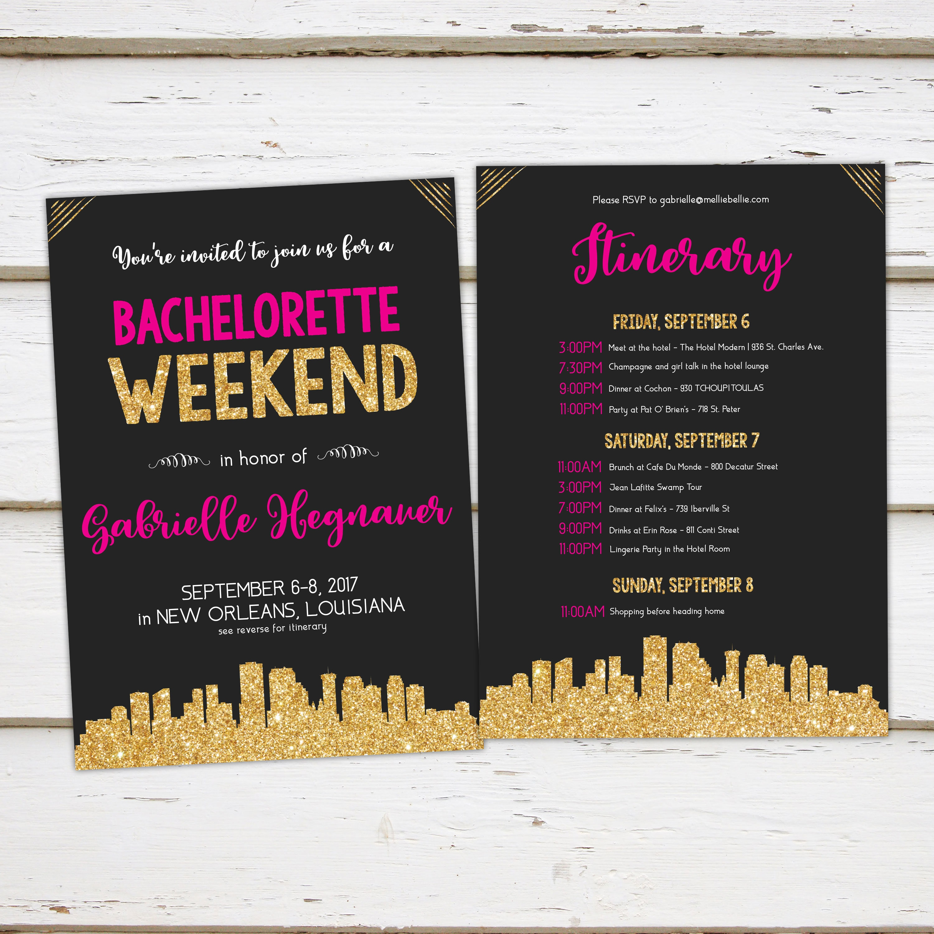 Printable Gold Pink Bachelorette Party Invitation with Itinerary ...