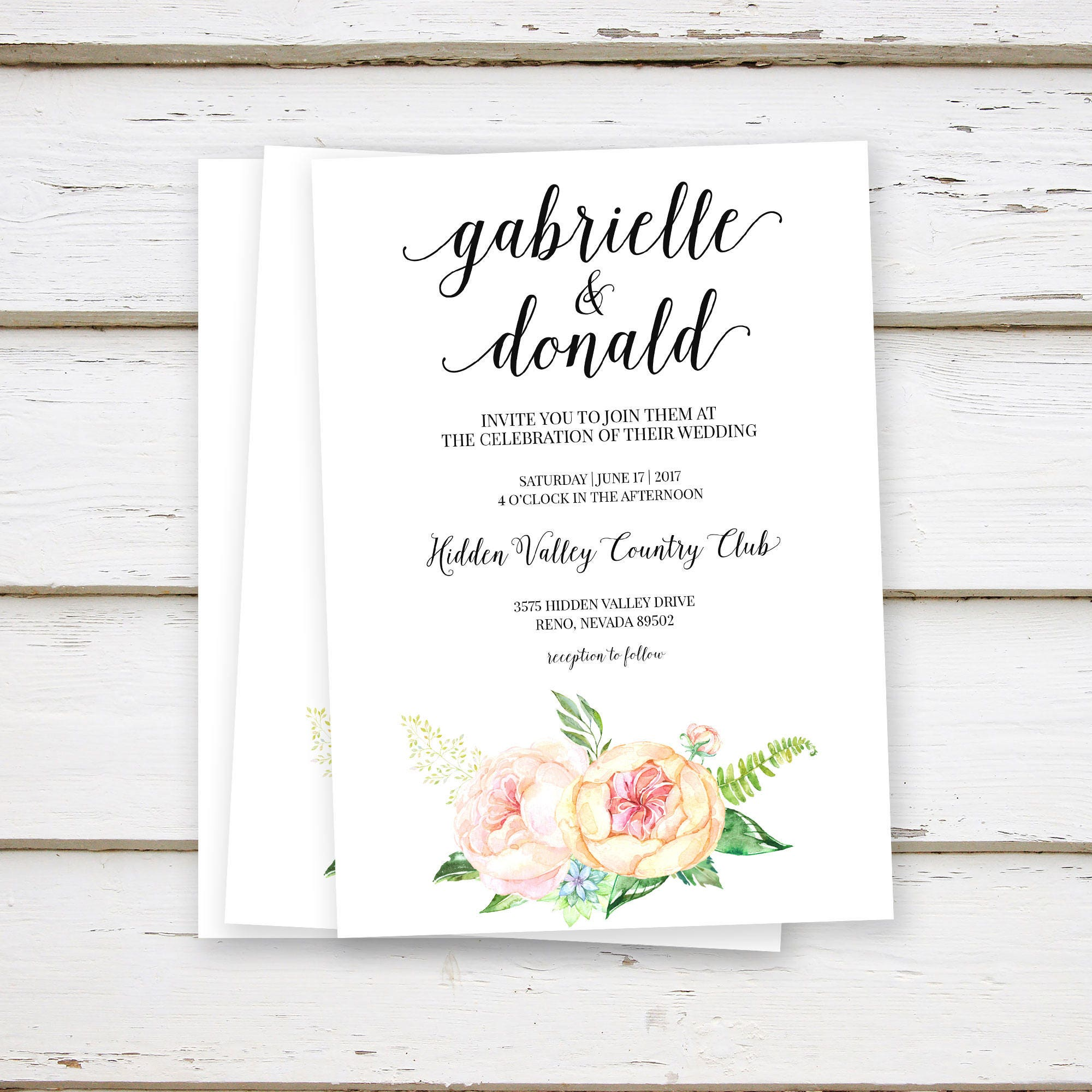 PRINTED Blush Wedding Invitations, Floral, Watercolor, Simple, Chic ...