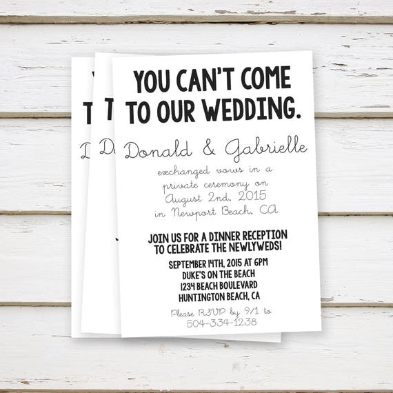 printed elopement reception invitation simple you can t etsy