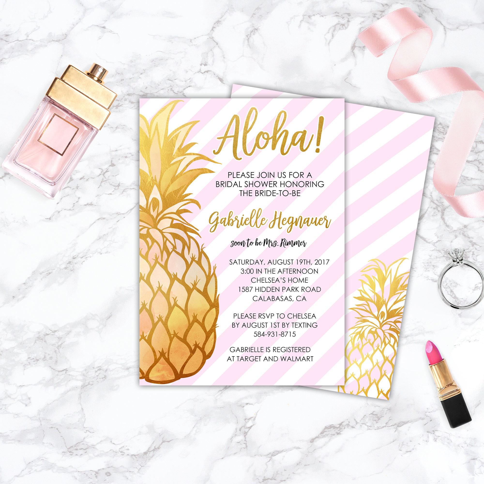 Printable Pineapple Bridal Shower Invitation, Tropical, Summer, Gold ...