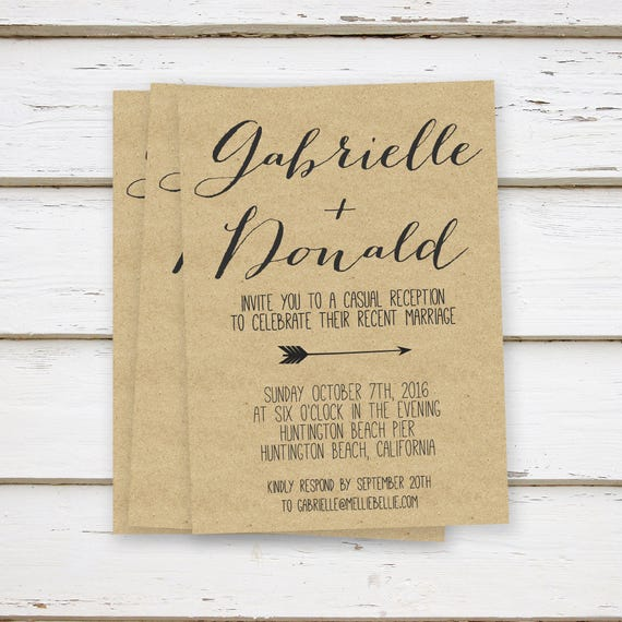 Printed Kraft Elopement Reception Invitation Rustic Arrow Cursive Simple Woodsy Country We Eloped Only Married MB010