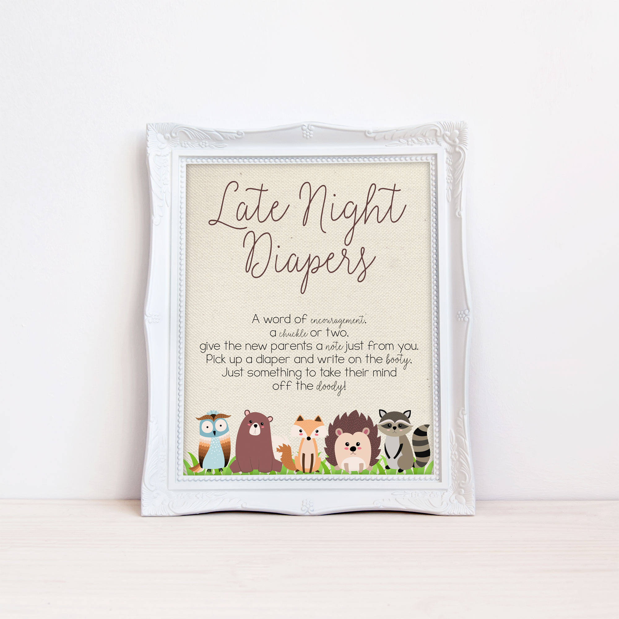 Printable Baby Shower Game, Diaper Thoughts, Late Night