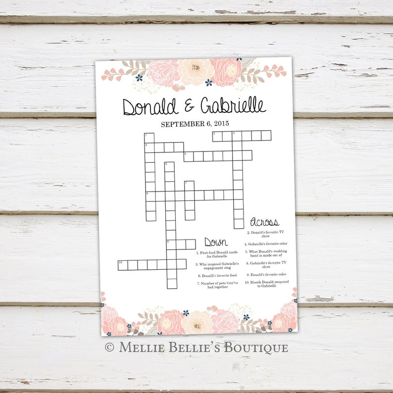 Printable Wedding Crossword Puzzle Game, Games for Wedding, Reception, For  Kids, Activities, Floral, Rustic, Word Search, Shower, MB348