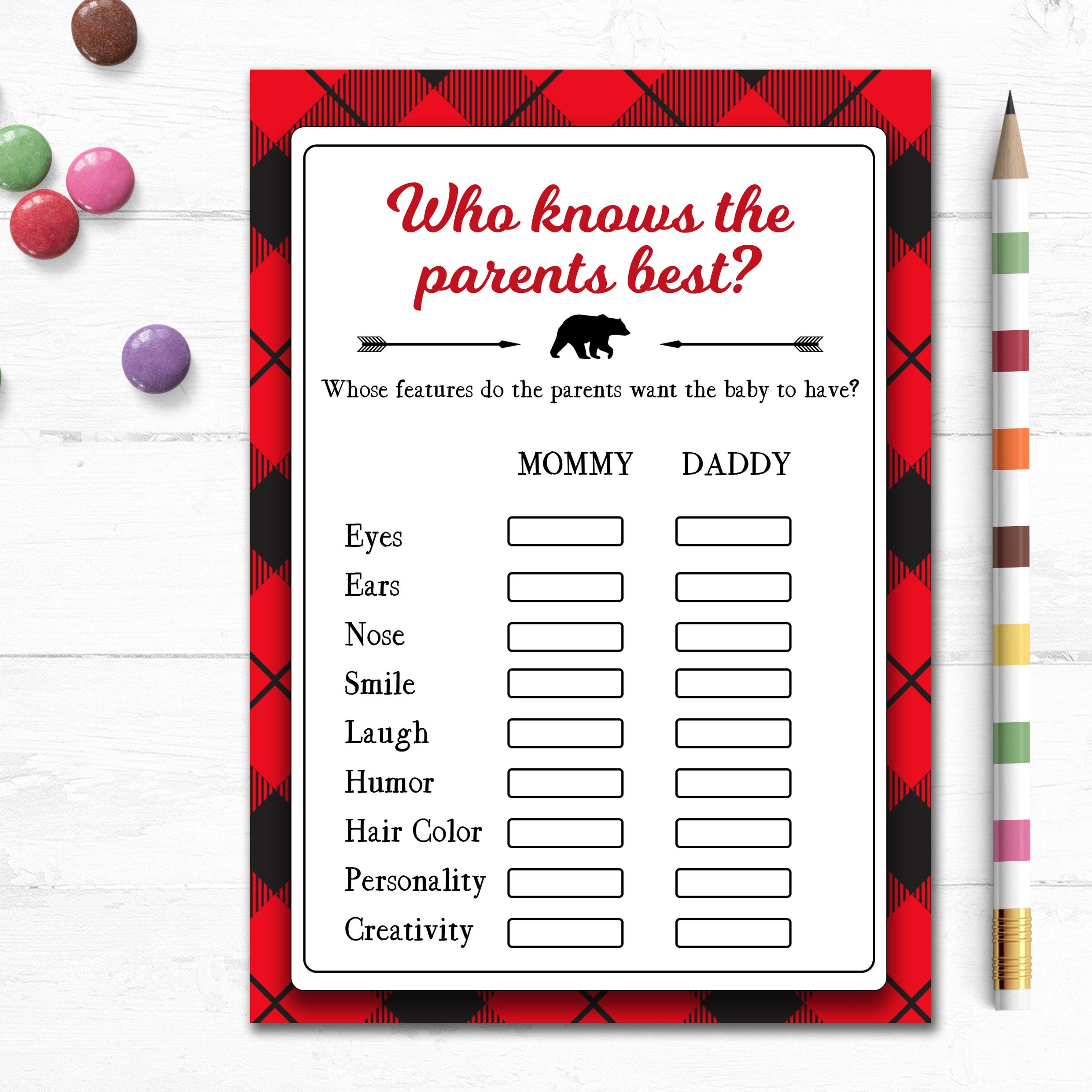 Printable Lumberjack Theme Baby Shower Game Who Knows Parents Best
