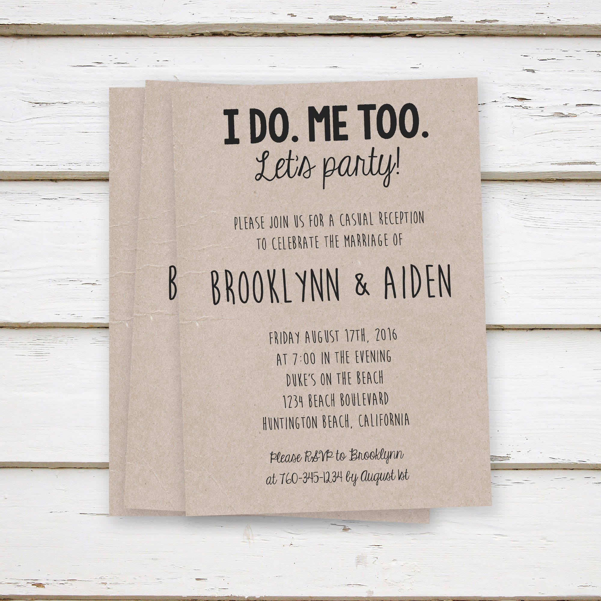PRINTED Elopement Reception Invitations I Do Me Too Rustic Only Party Funny BBQ We Did Lets Kraft MB071