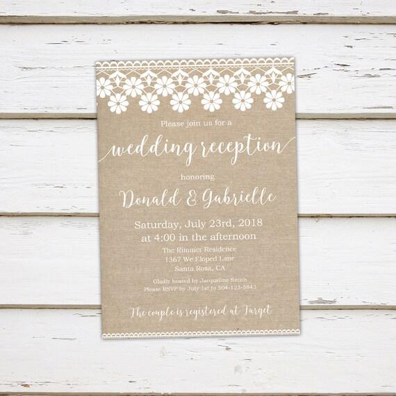 printable burlap elopement reception invitation we eloped burlap