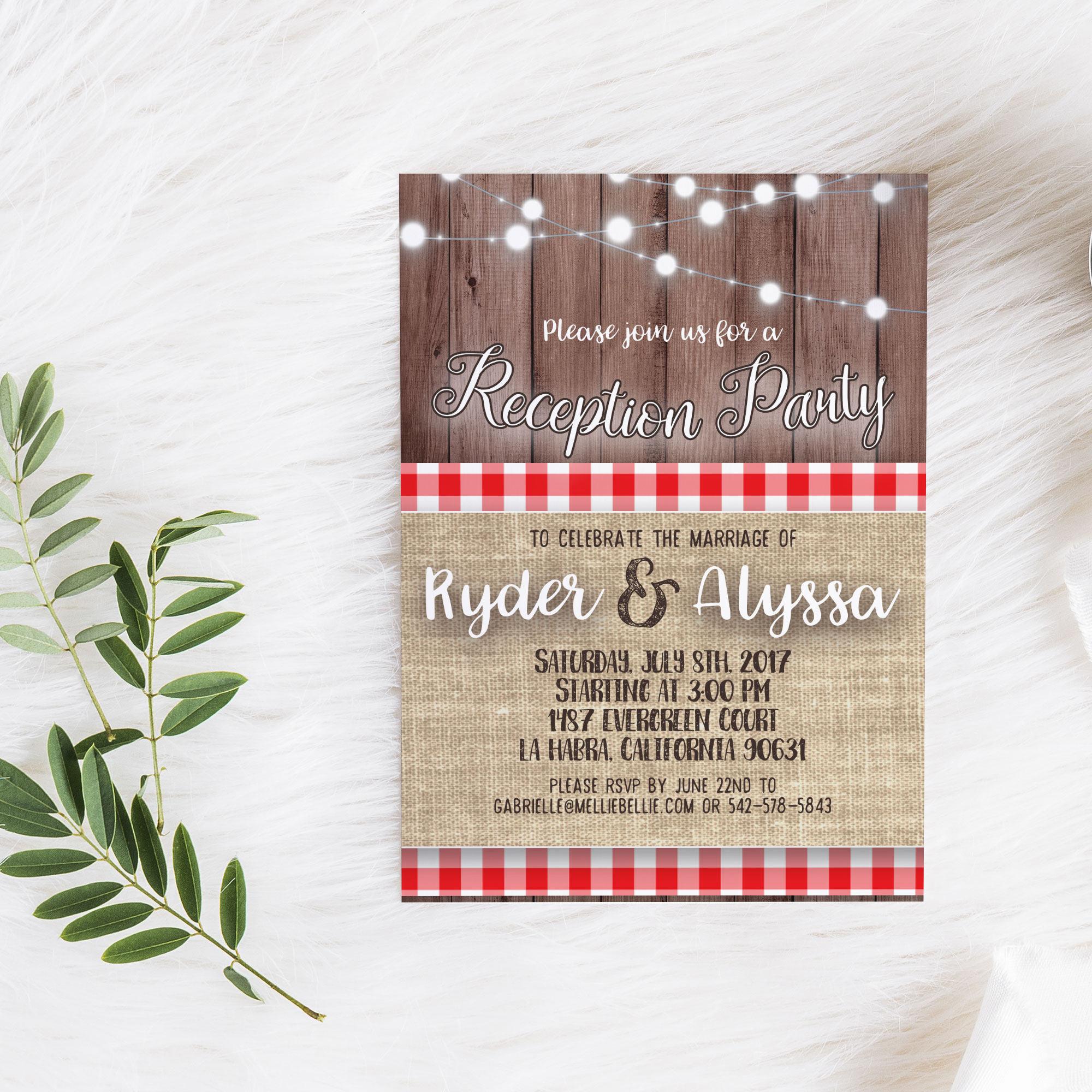 printable reception party invitation i do bbq rustic summer