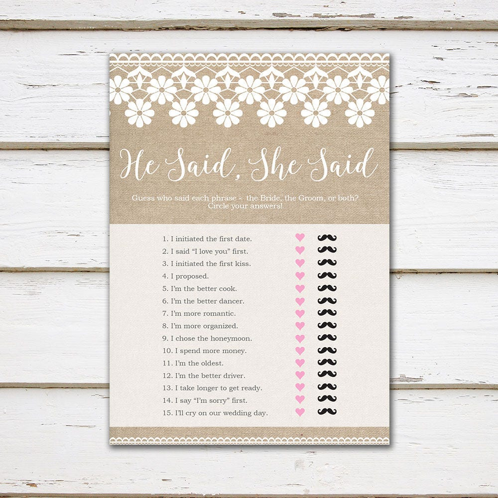 printable bridal shower game he said she said party game couples shower wedding shower burlap lace digital mb194