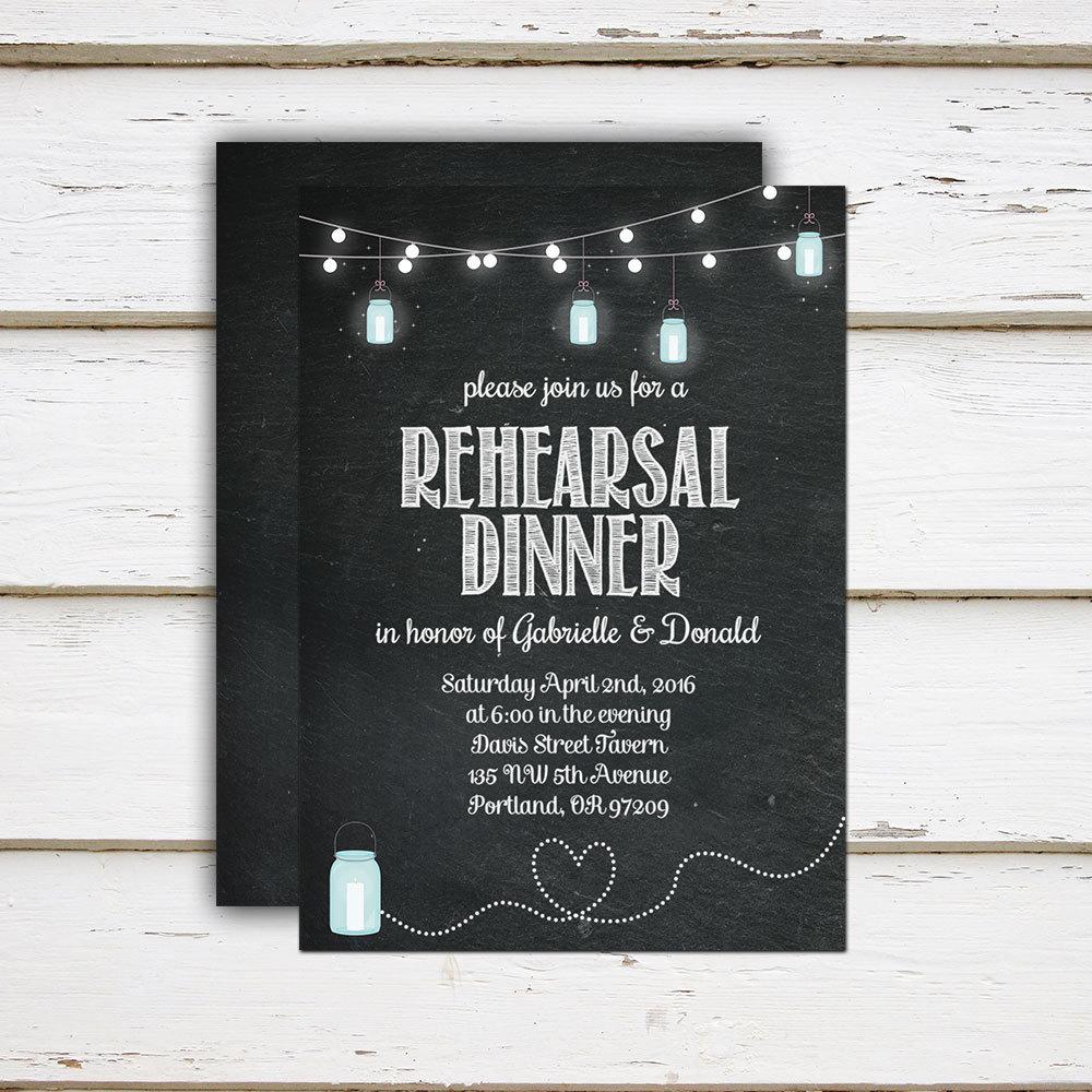 printable rehearsal dinner invitation string lights chalkboard