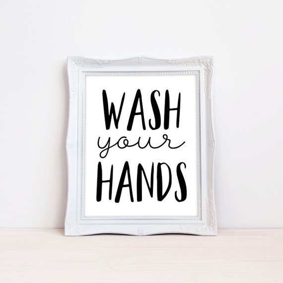 graphic relating to Printable Bathroom Wall Art called Printable Lavatory Wall Artwork, Humorous Bathtub Decor, Clean Your Fingers, Small children Lavatory, Very simple, Typography, Black White, Electronic, MB209