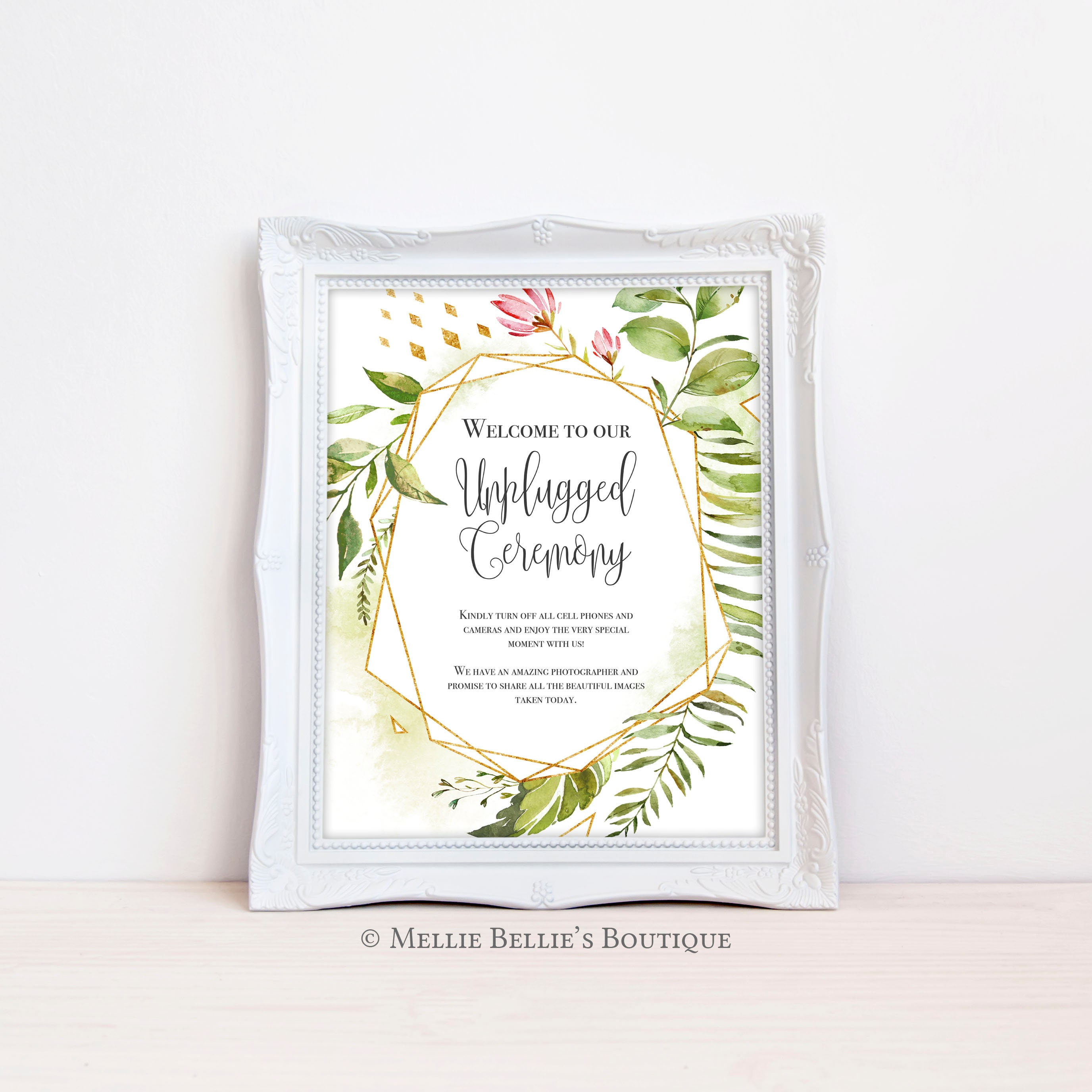 Printable Unplugged Ceremony Wedding Sign, Greenery Frame