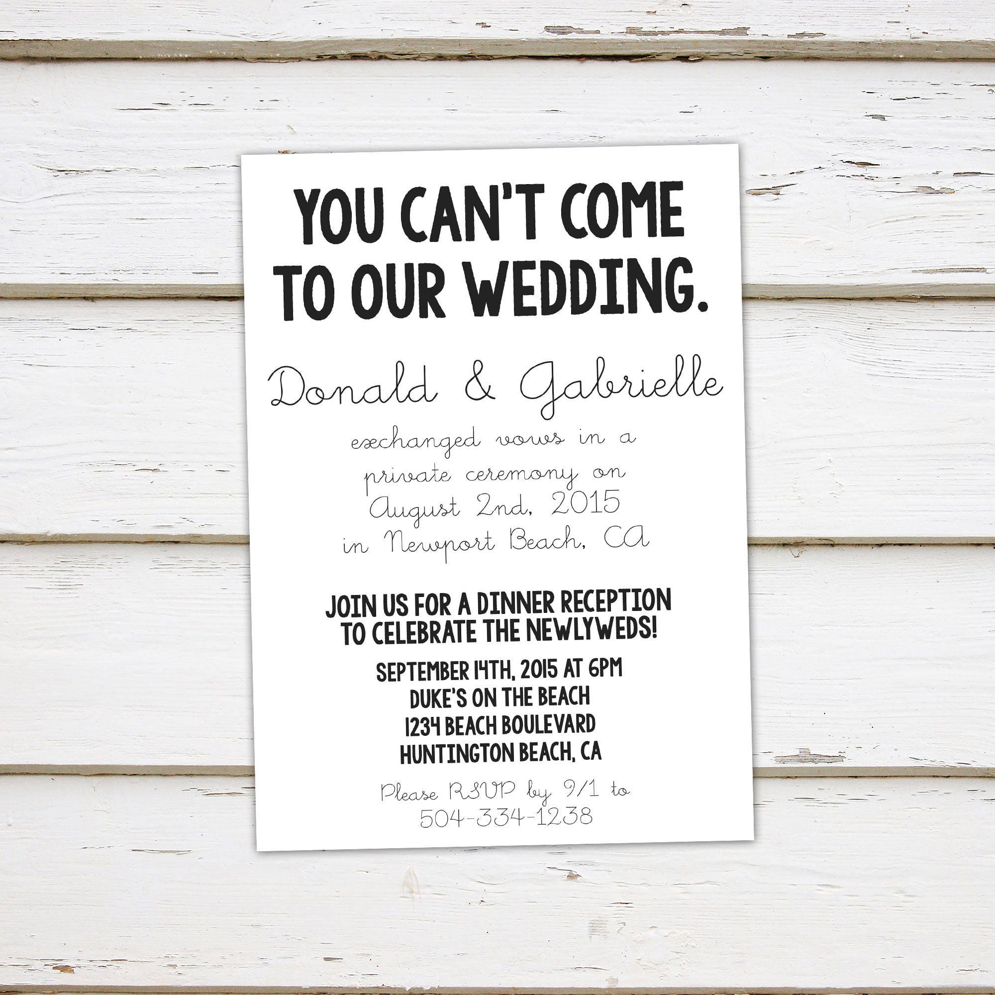 printable elopement reception invitation we got hitched you can t