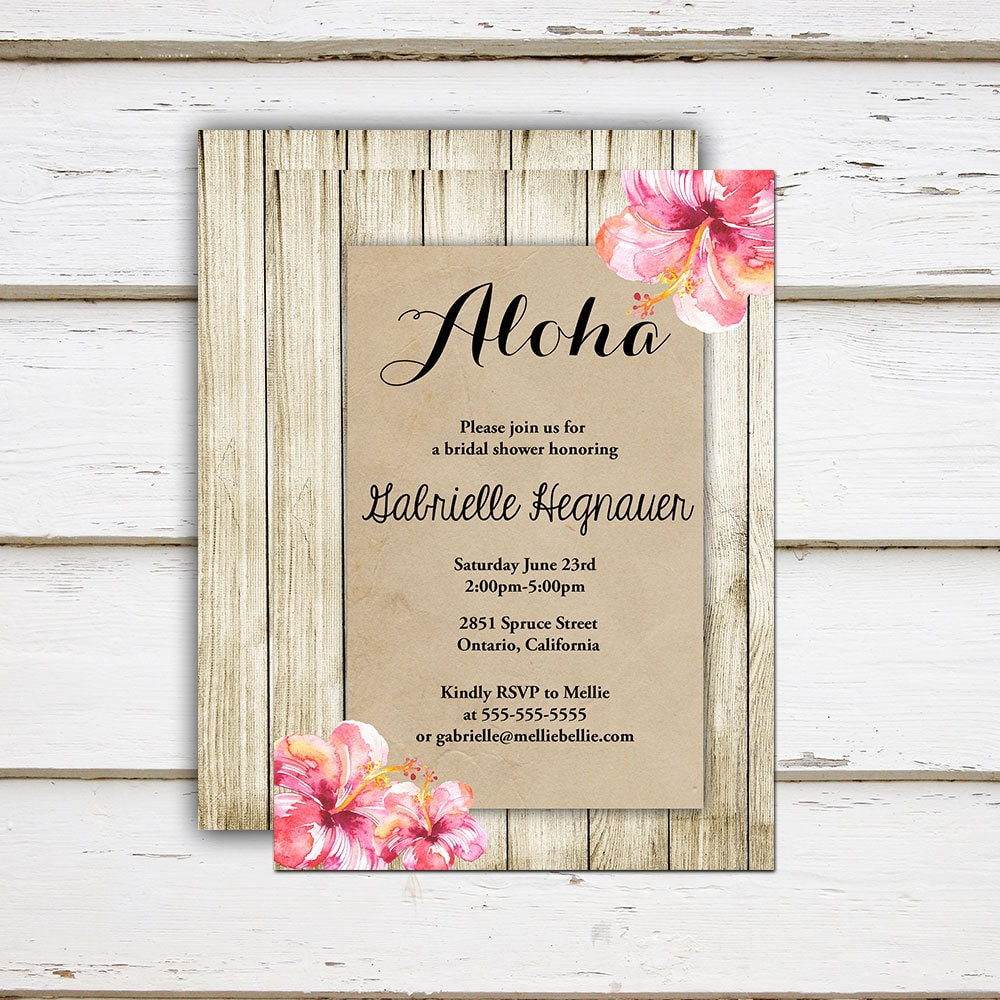 Printable Tropical Bridal Shower Invitation, Hibiscus, Pink Floral ...
