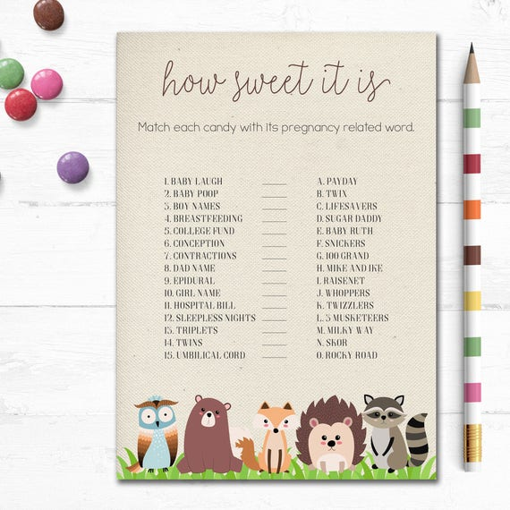 Printable Woodland Baby Shower Game, How Sweet It is ...