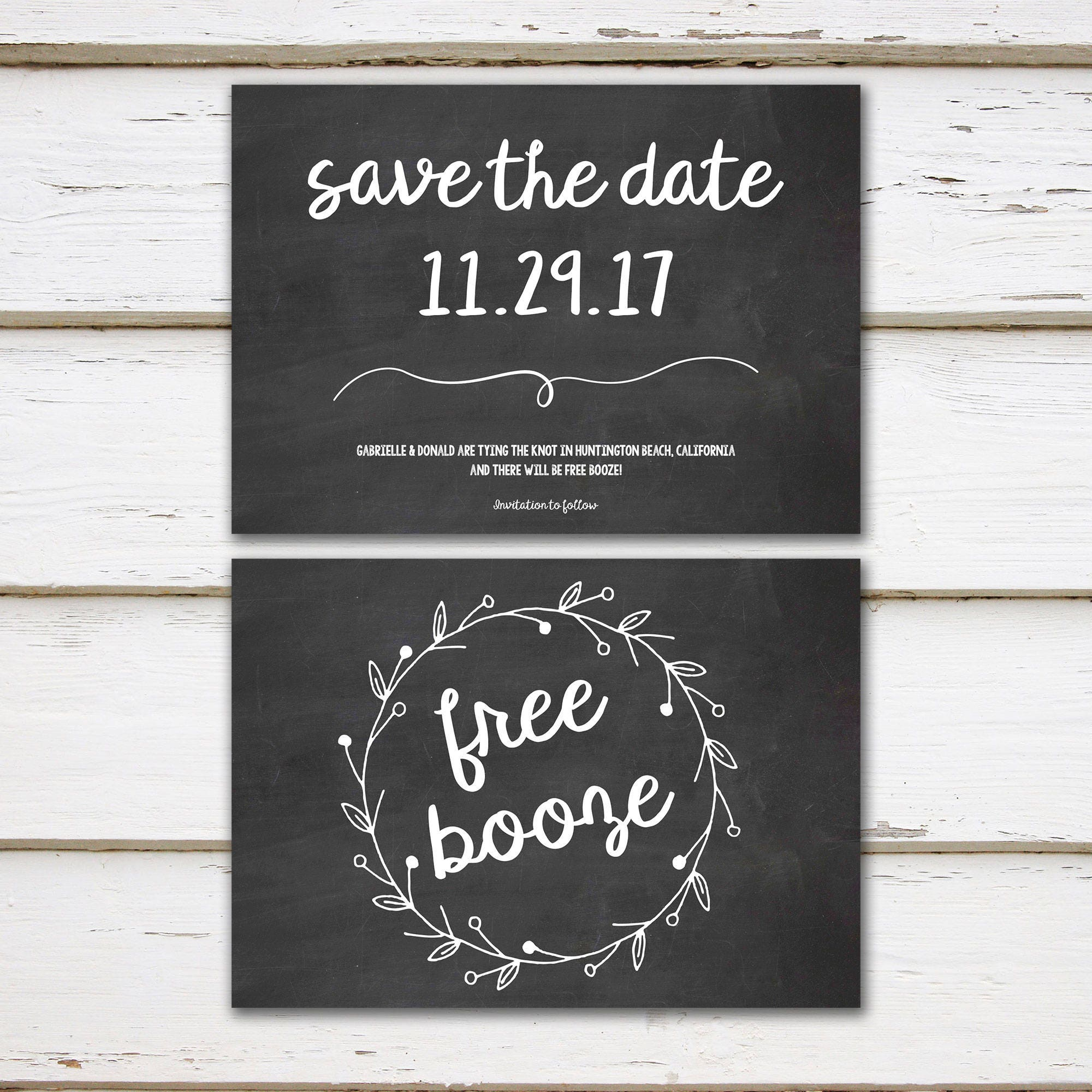 Printable Funny Save The Date Engagement Announcement Free Booze - Beach save the date templates free