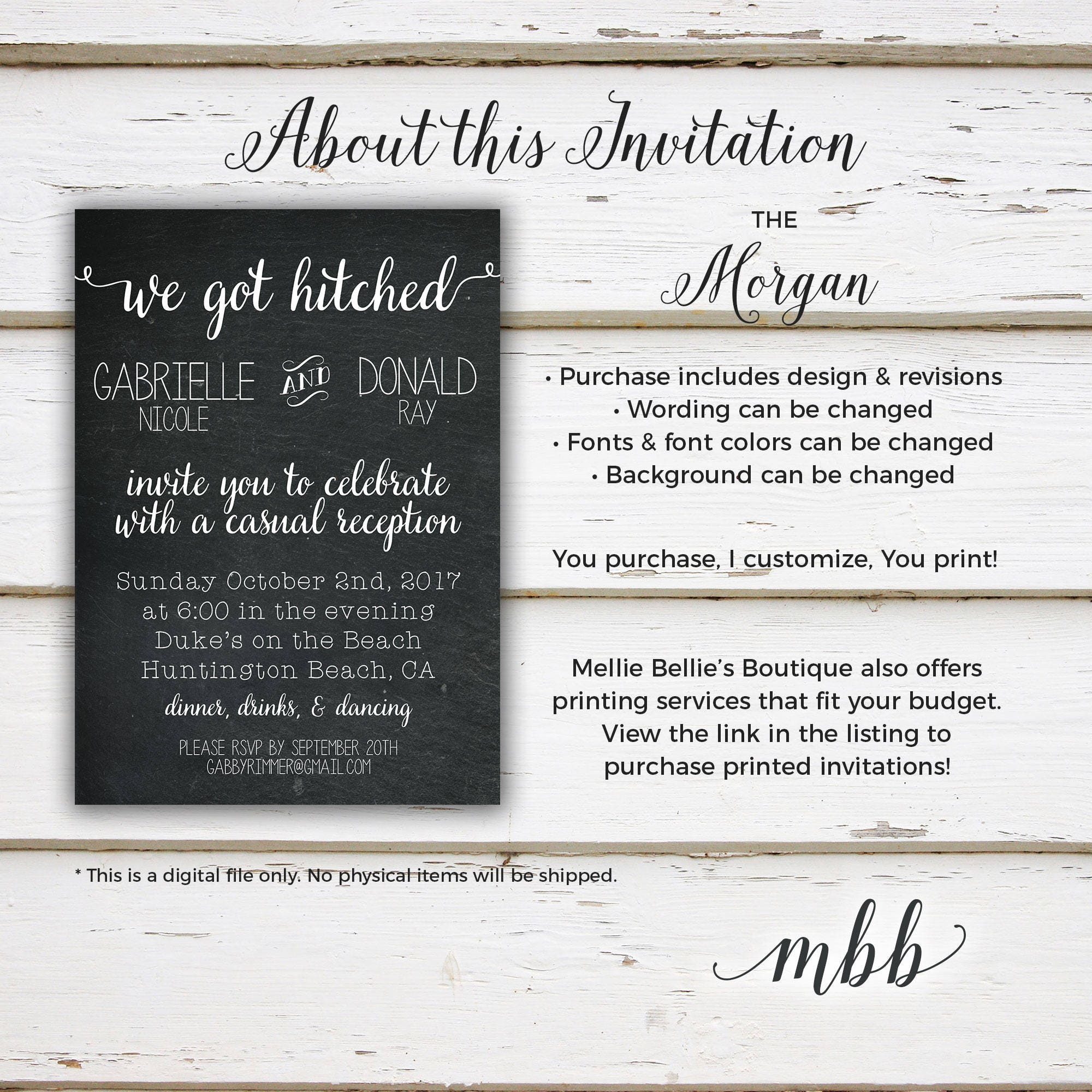 printable elopement reception invitation we got hitched we tied