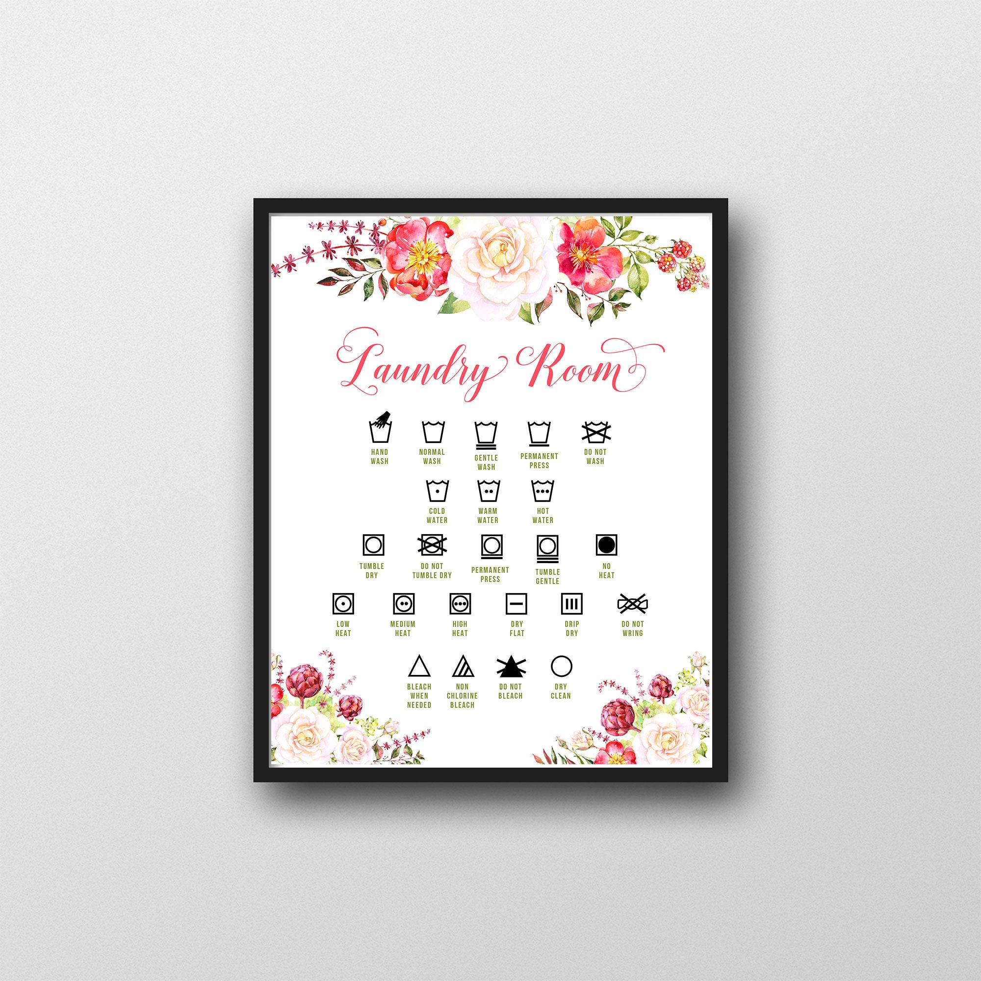 graphic regarding Printable Laundry Symbols identify Printable Laundry Place Wall Artwork, Floral, Laundry Icons