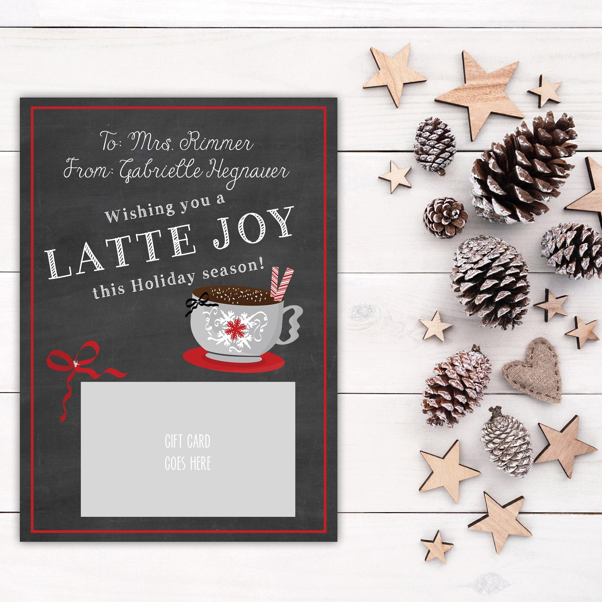 Printable Christmas Gift Card Holder, Latte Joy, Starbucks Card ...