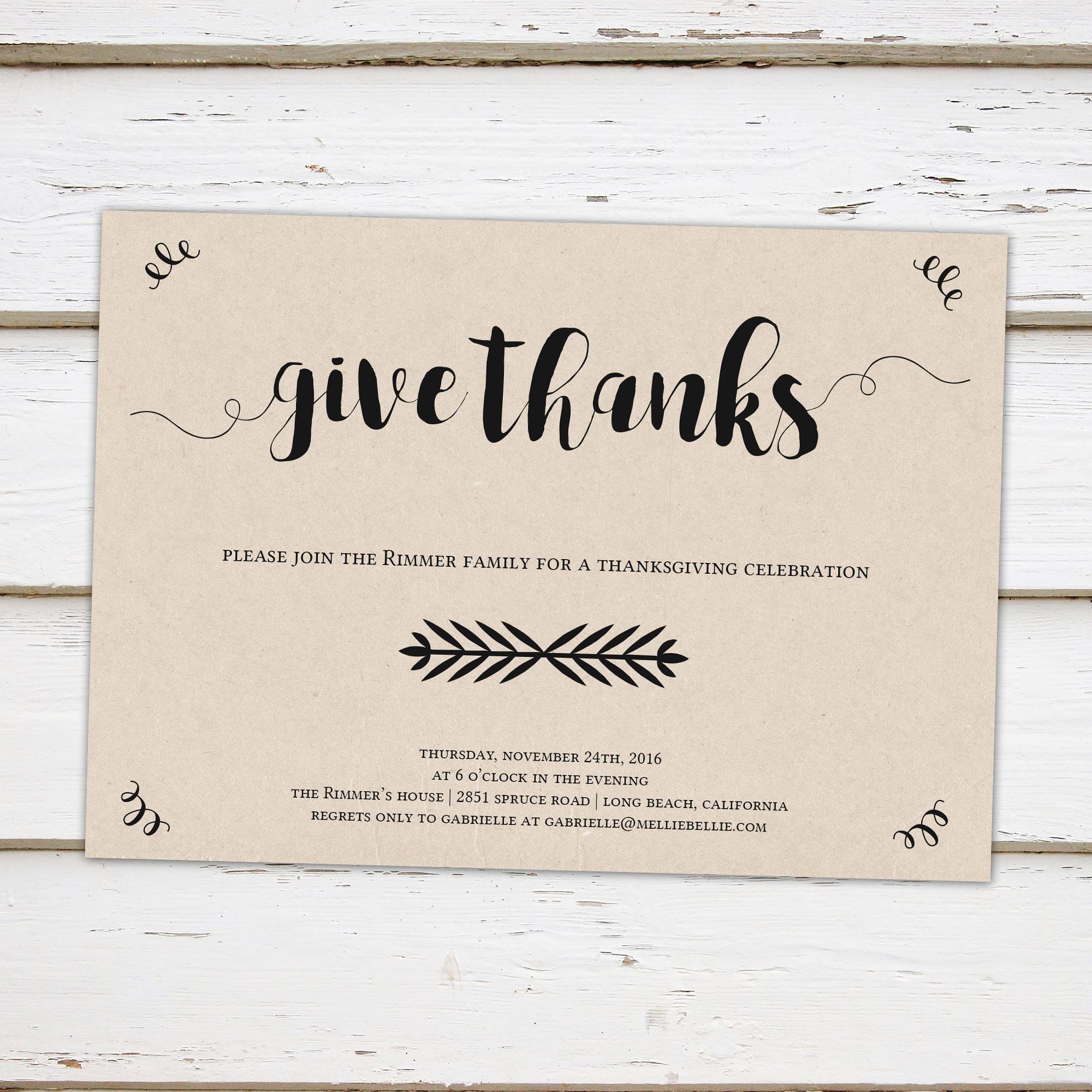 printable thanksgiving dinner invitation rustic kraft give thanks