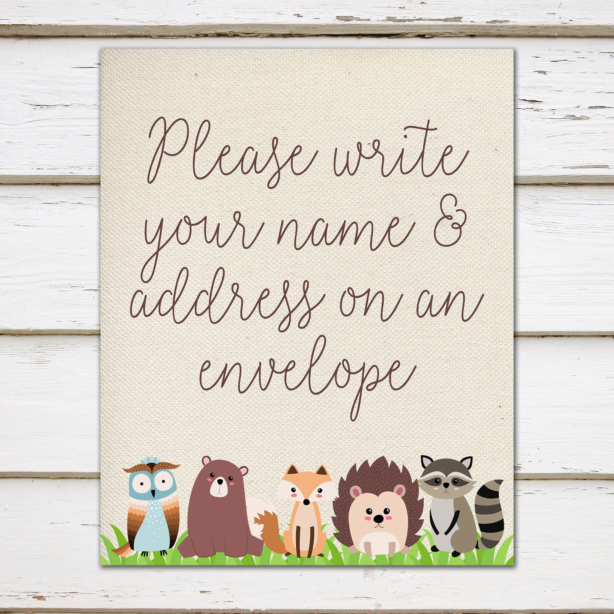 Printable Baby Shower Woodland Sign Name And Address Write Address