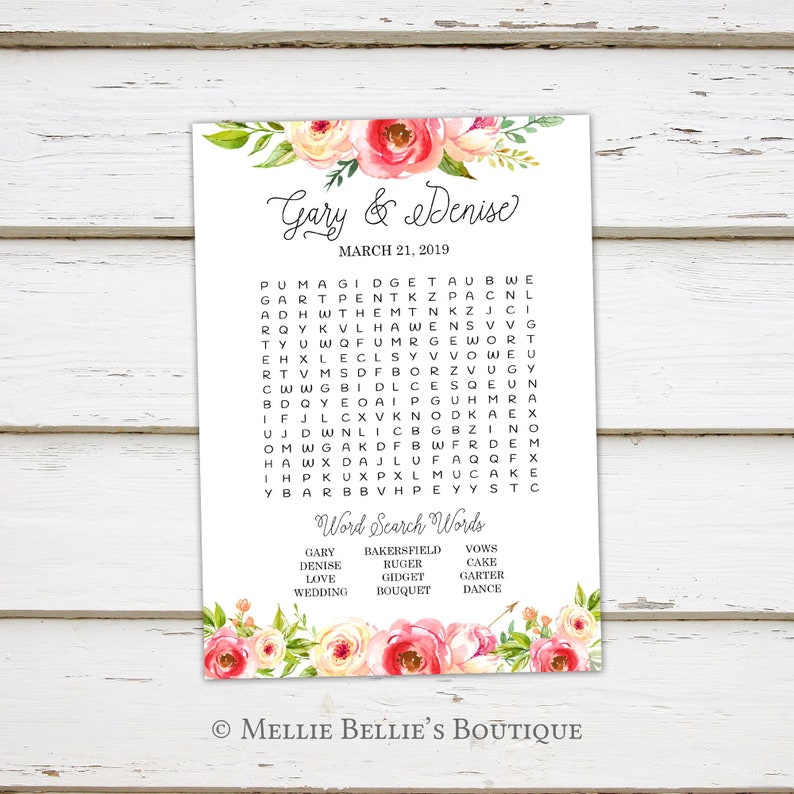 Rustic Activities Games for Wedding Shower Reception Printable Wedding Word Search Game MB333 For Kids Floral Word Puzzle