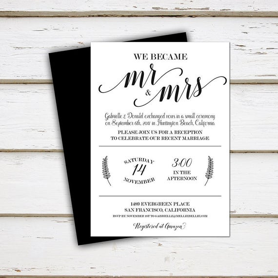 printable elopement reception invitation mr mrs we did we etsy