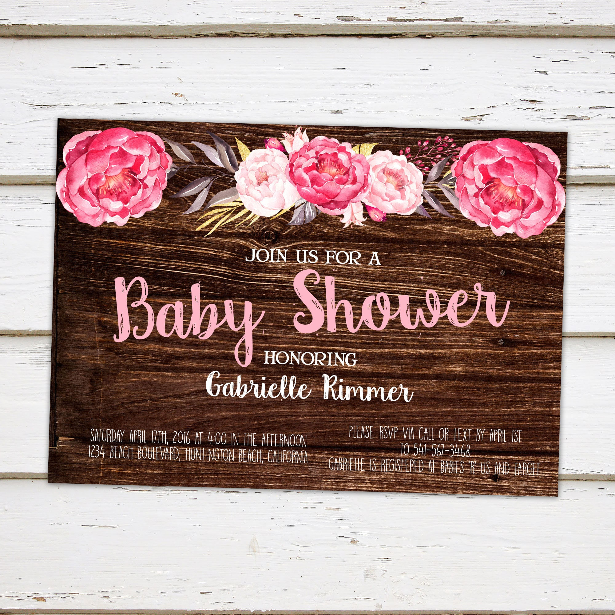 Printable Rustic Baby Shower Invitation Pink Floral Chic
