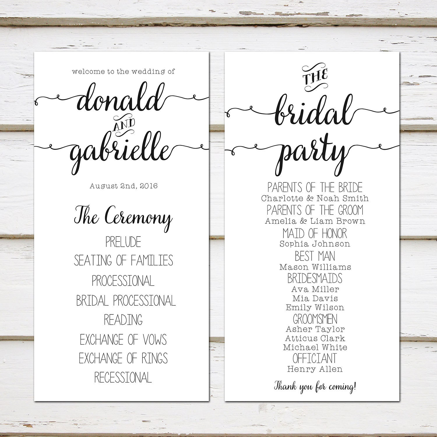 printable simple wedding program black and white plain casual