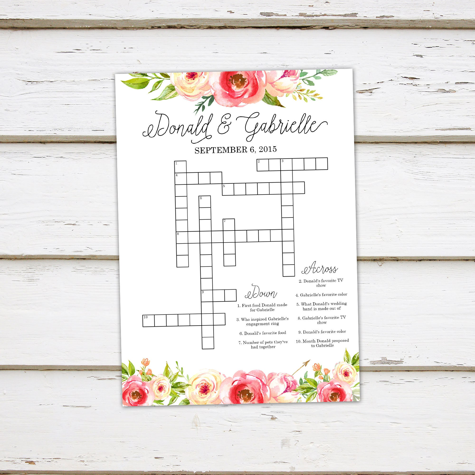 Printable Wedding Crossword Puzzle Game Games For Wedding