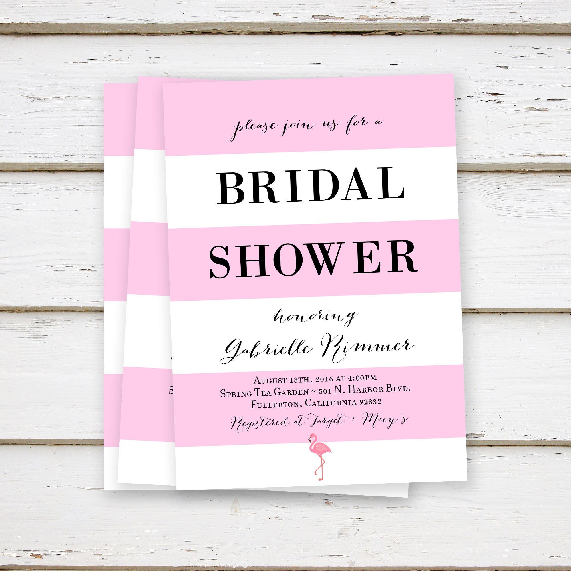 PRINTED Tropical Bridal Shower Invitations, Pink White Black ...