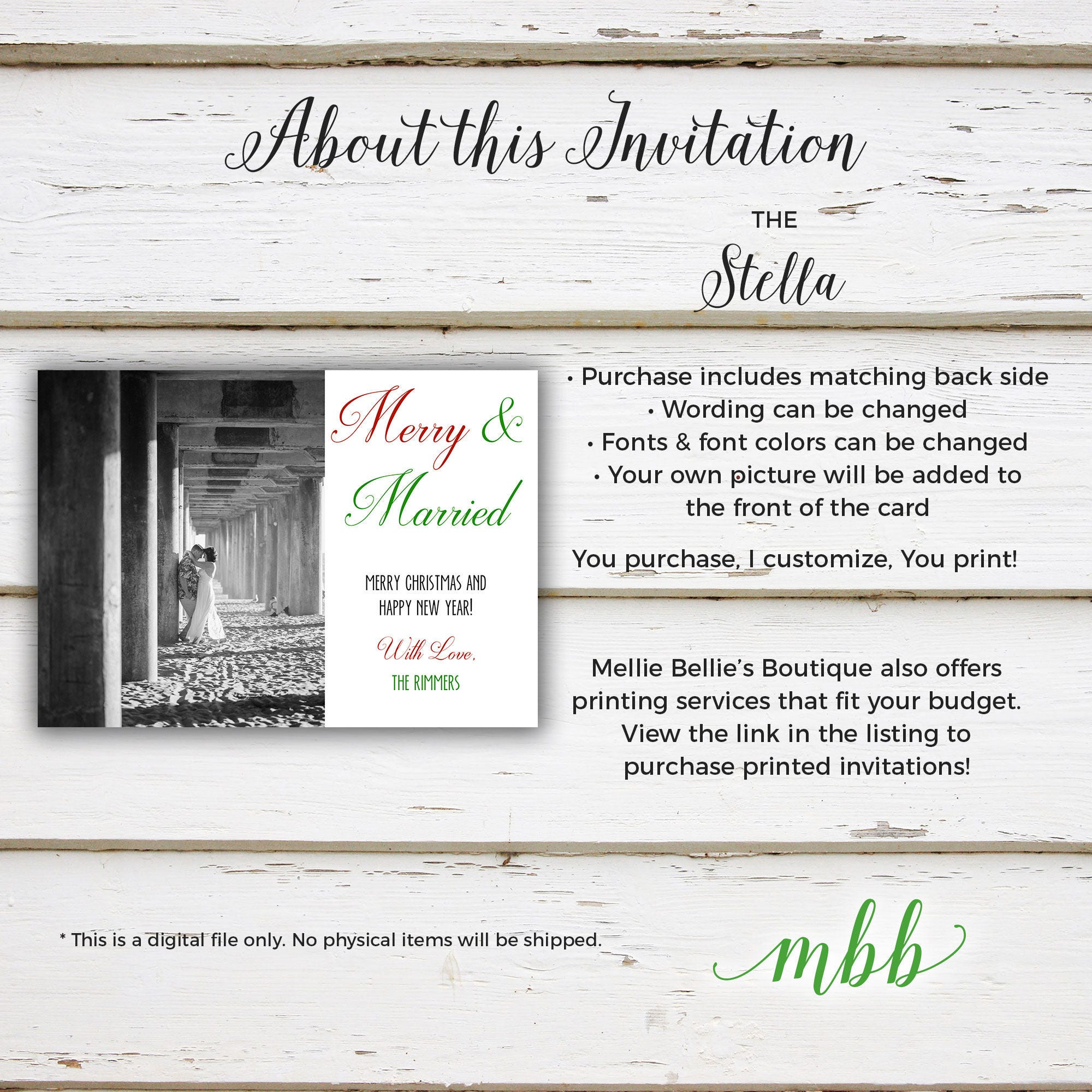 printable holiday christmas card merry married eloped elopement