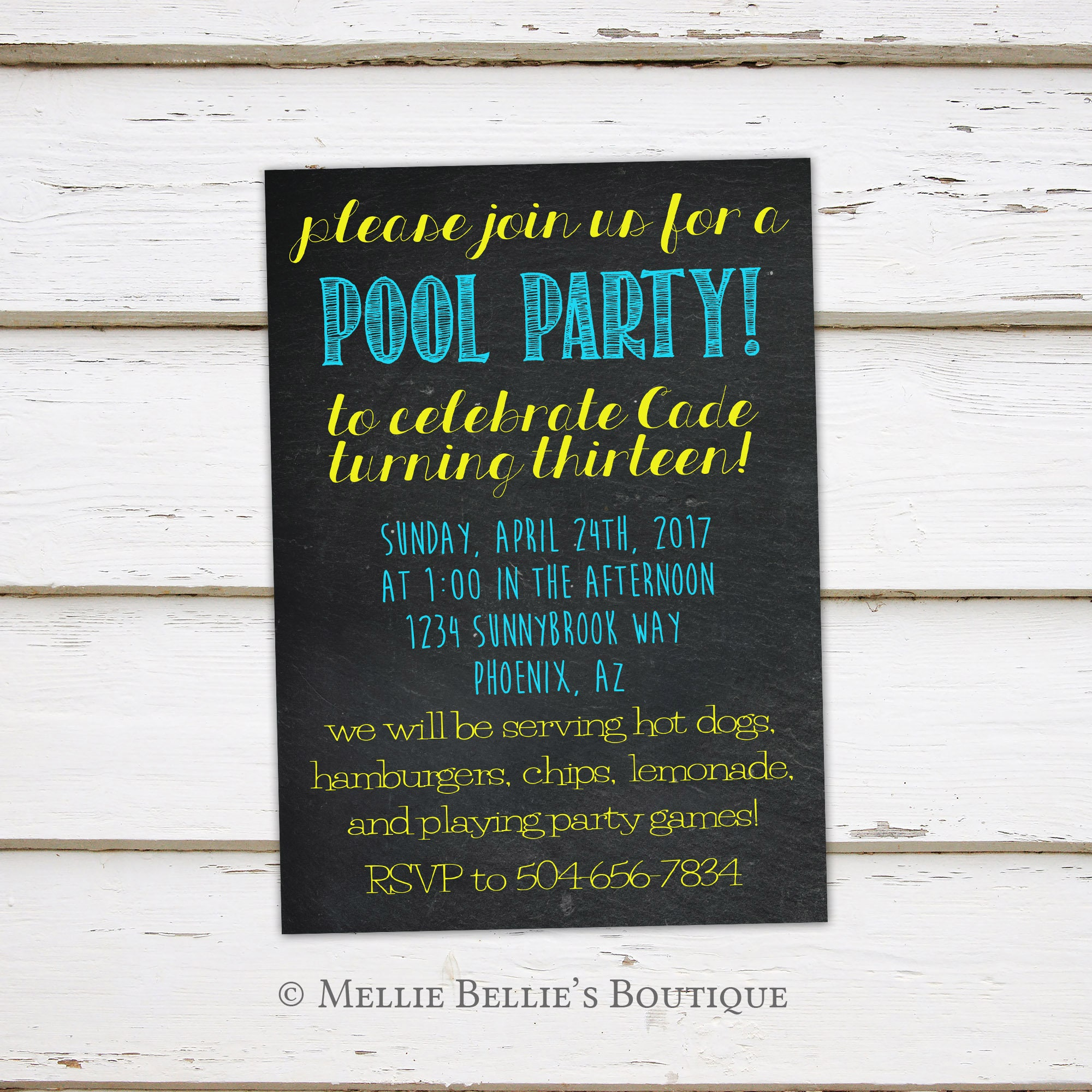 Printable Pool Party Invitation Birthday Summer BBQ Barbecue Swimming Chalkboard Kids Adults July 4th Resort MB163