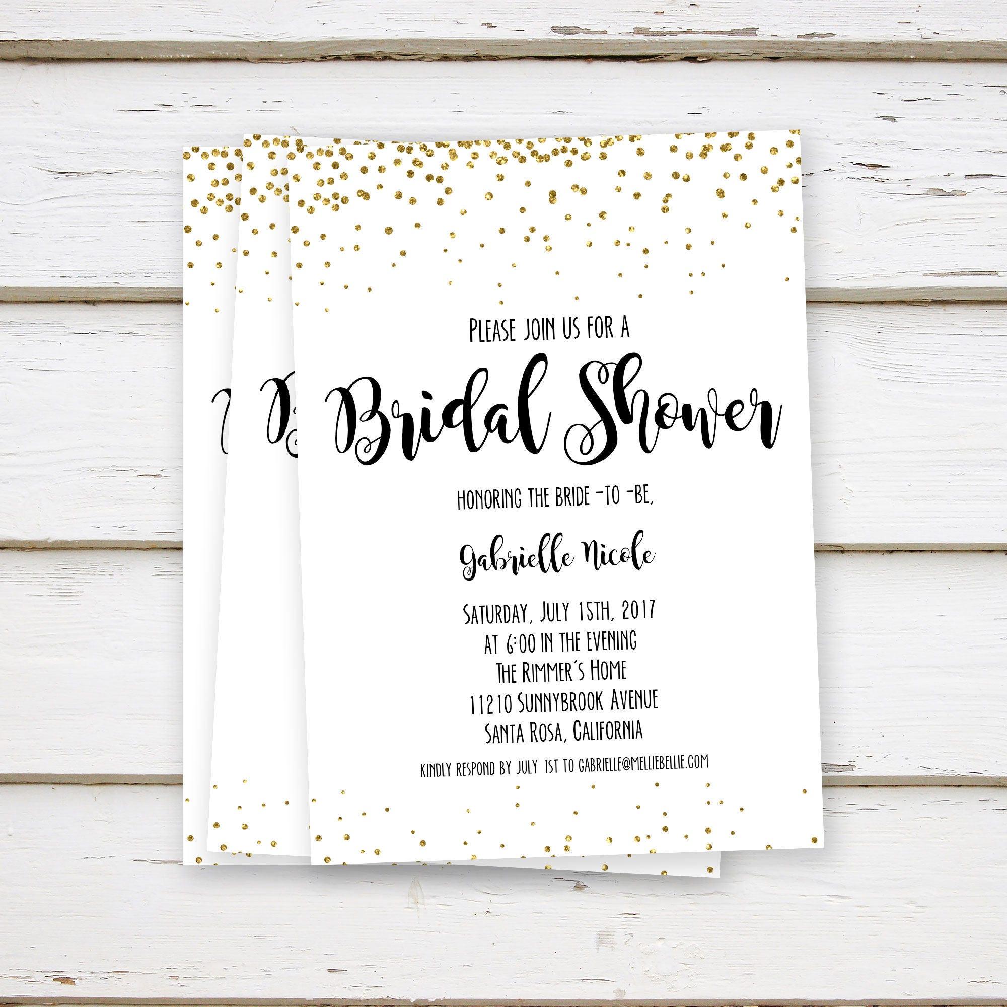 PRINTED Gold Glitter Bridal Shower Invitations, Bachelorette Party ...