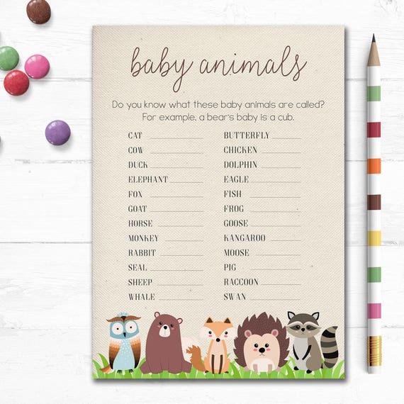 Free Baby Shower Games Printable {Animal Pregnancies ...
