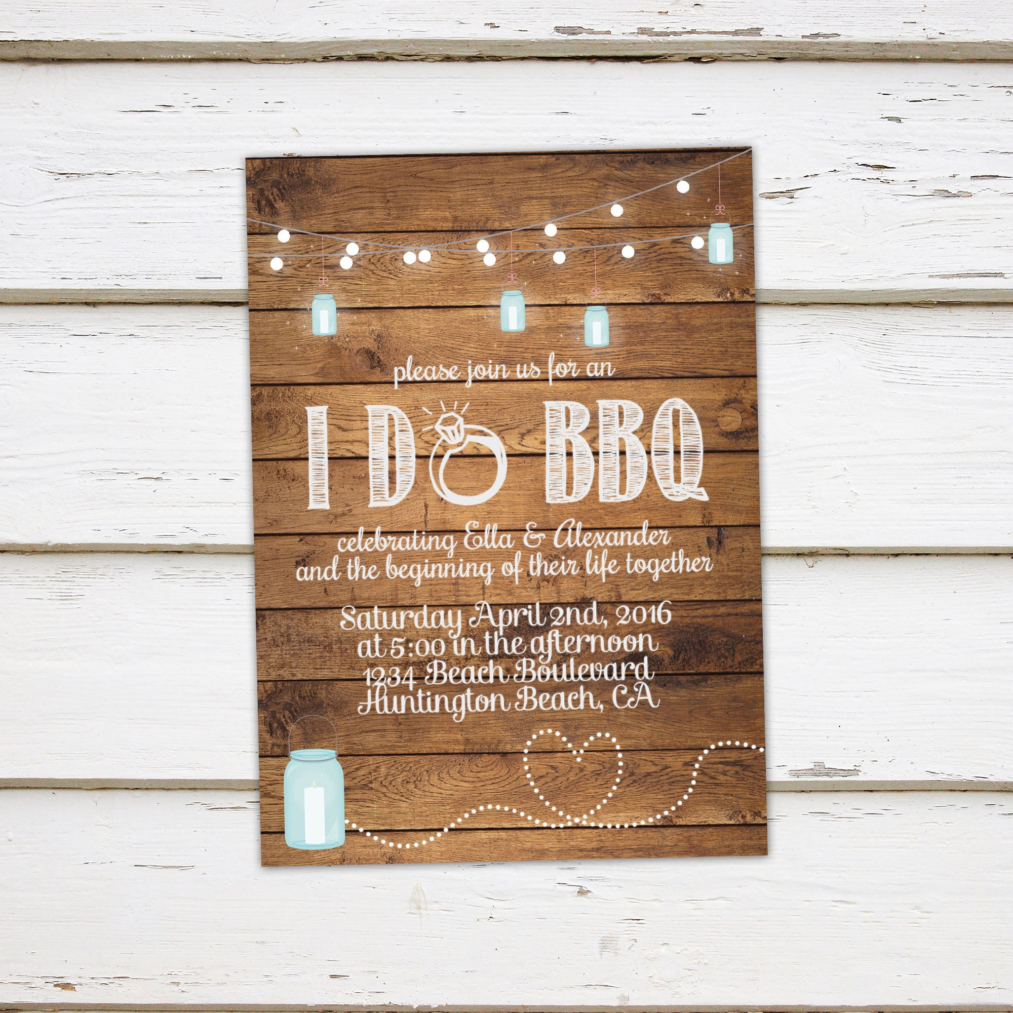 Printable I Do BBQ Invitation Engagement Party Elopement Reception Rustic Wood String Lights Farm Country Eloped MB032