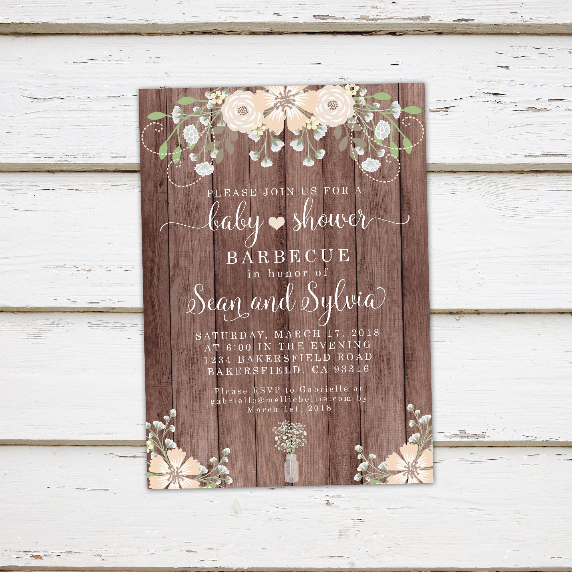 Printable Floral Rustic Baby Shower Baby-Q Invitation, Mason Jar ...