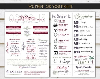 Fun Infographic Wedding Program, Unique Program, Fun Program, Modern Program, Printable or Printed, Entertaining, Fun Facts, Hashtag, MB235