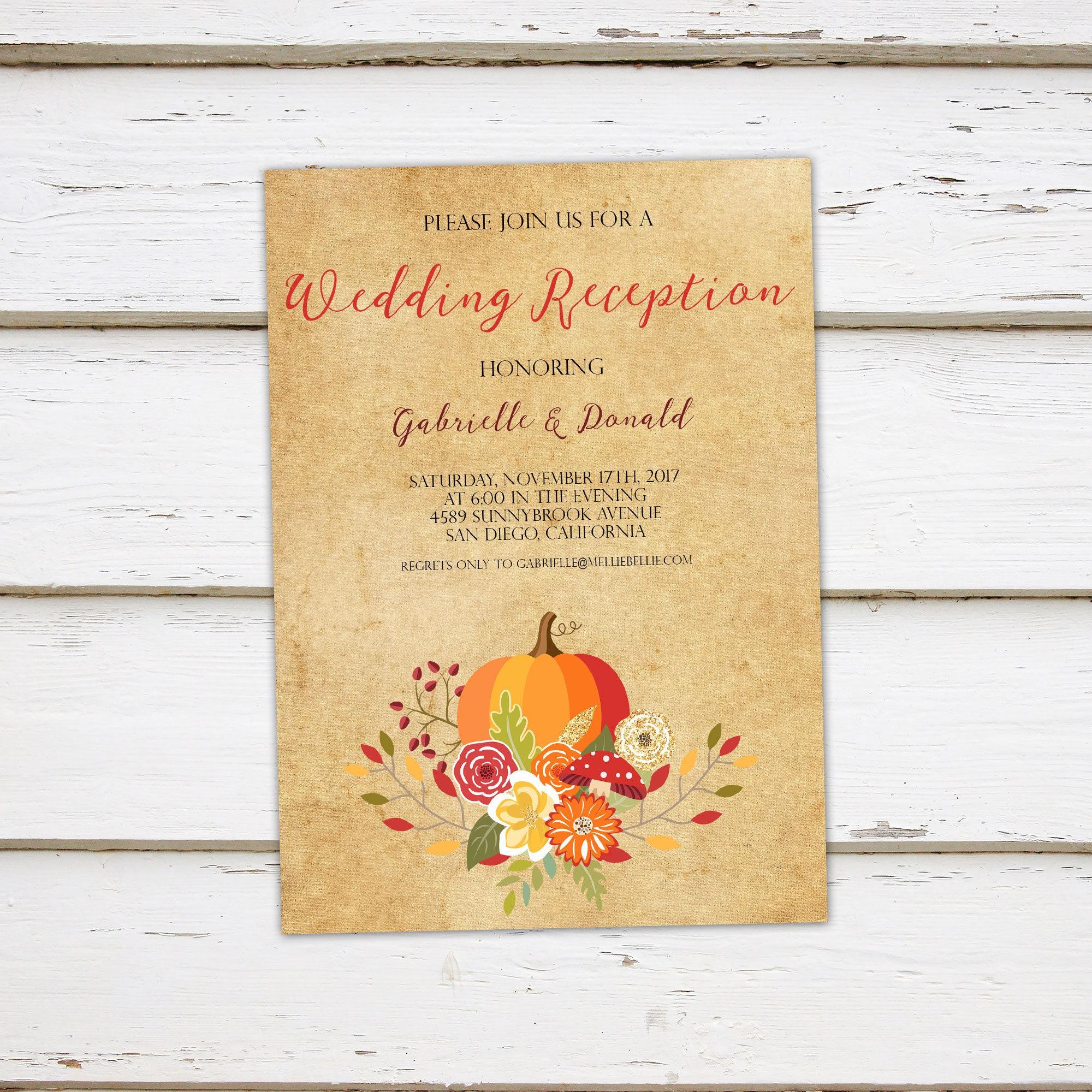 printable fall elopement reception invitation fall wedding autumn