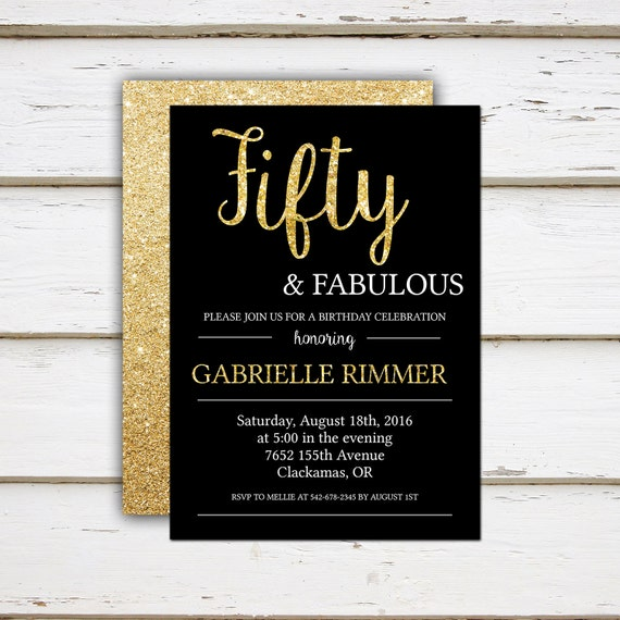 Printable 50th Birthday Invitation Fifty And Fabulous Gold Glitter