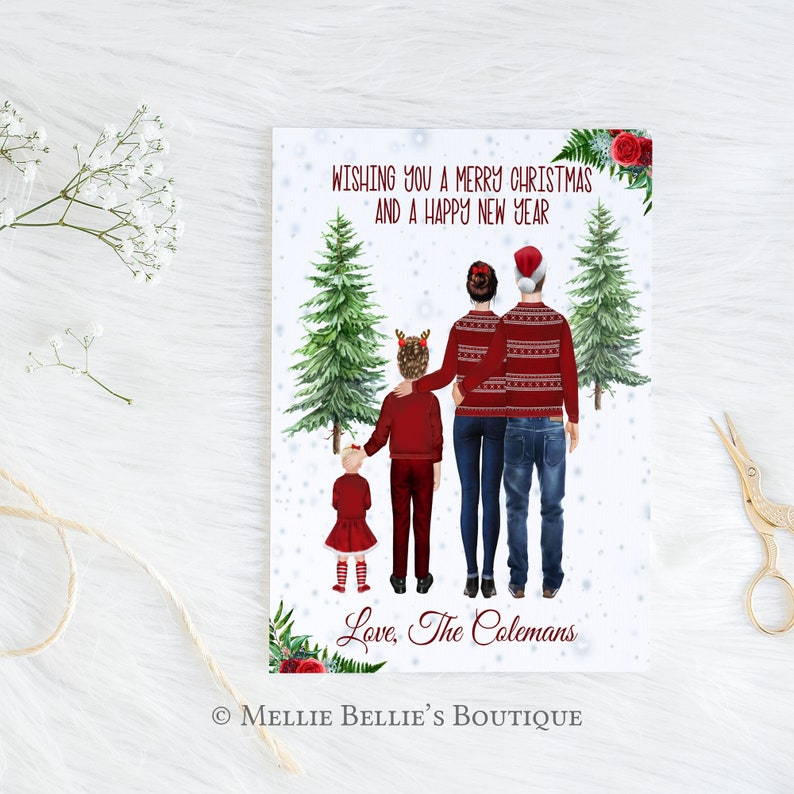 Printable Personalized Family Portrait Christmas Card Simple Card Merry Christmas from Family Digital File MB583 Family Illustration