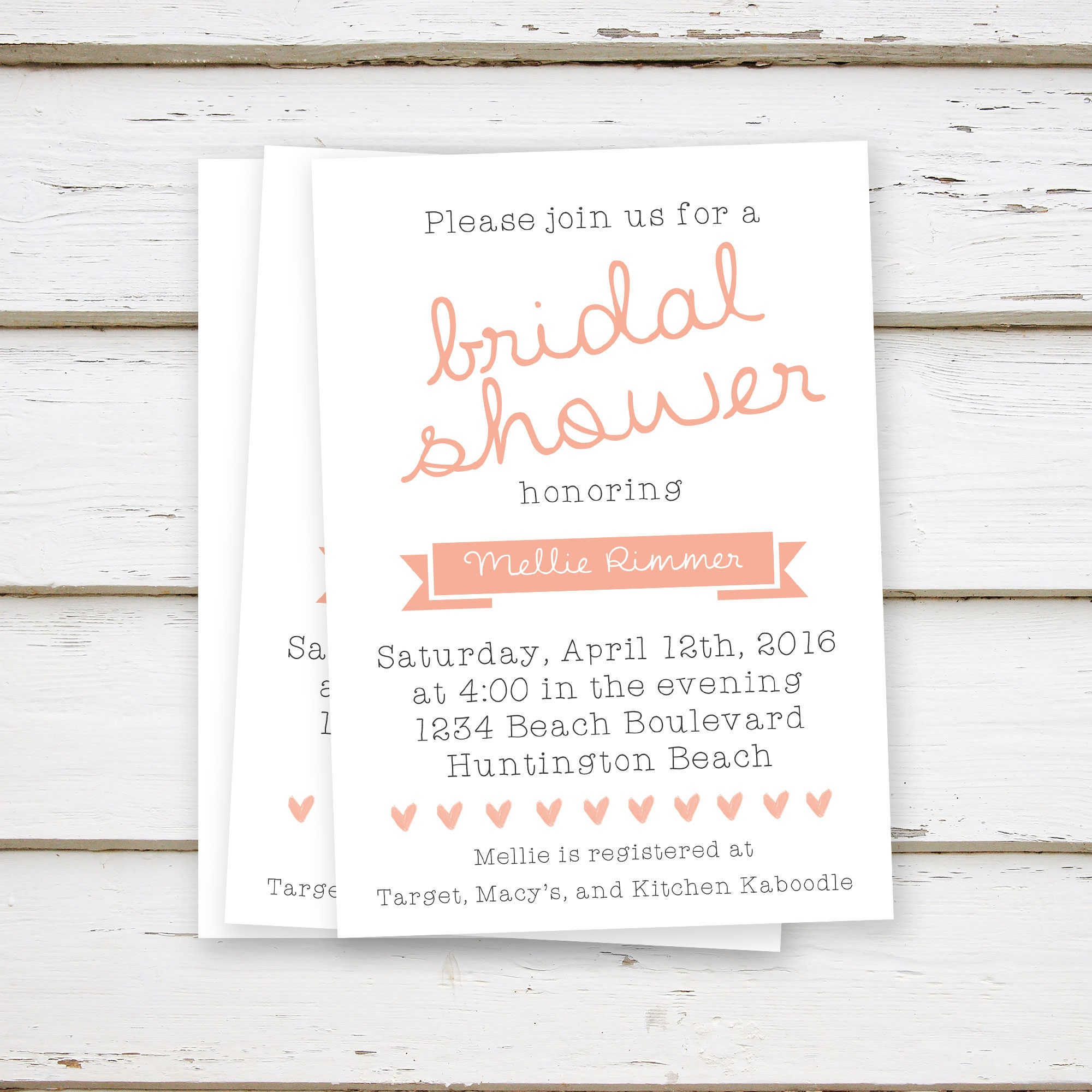 printed blush bridal shower invitations simple coral peach plain spring summer brunch bubbly girly white hearts mb035
