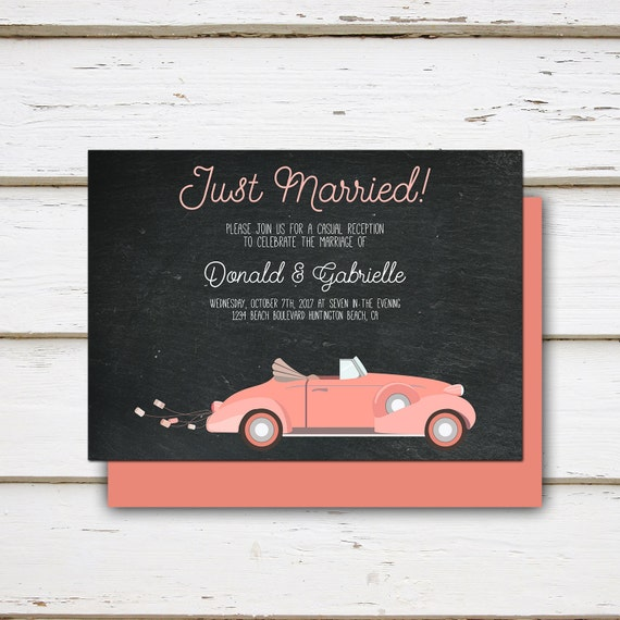 printable elopement reception invitation just married old car