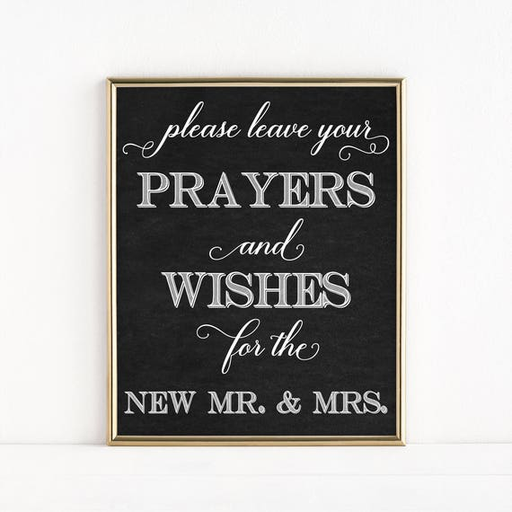 Printable Mr Mrs Wedding Sign Prayers And Wishes Leave Etsy
