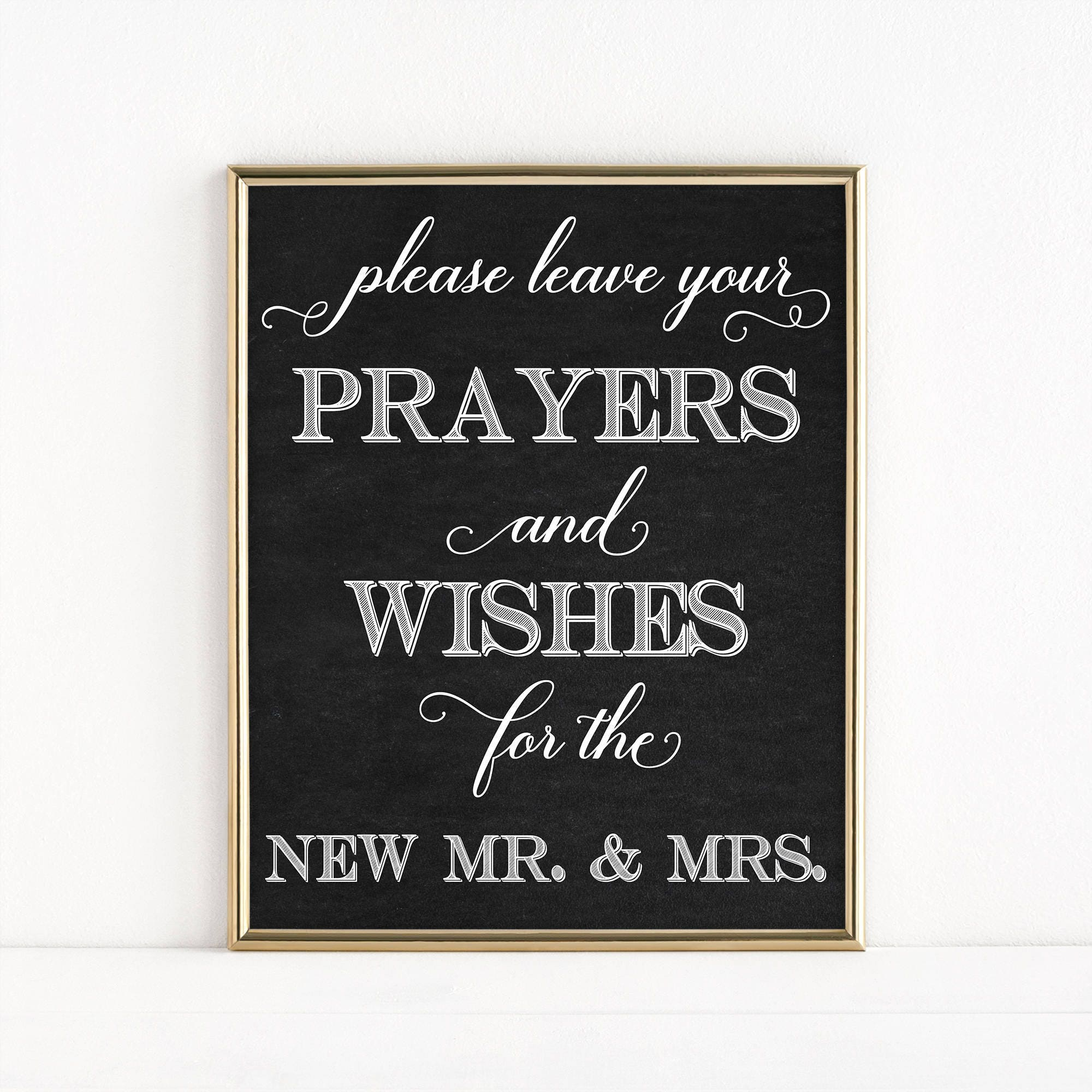 printable mr mrs wedding sign prayers and wishes leave your