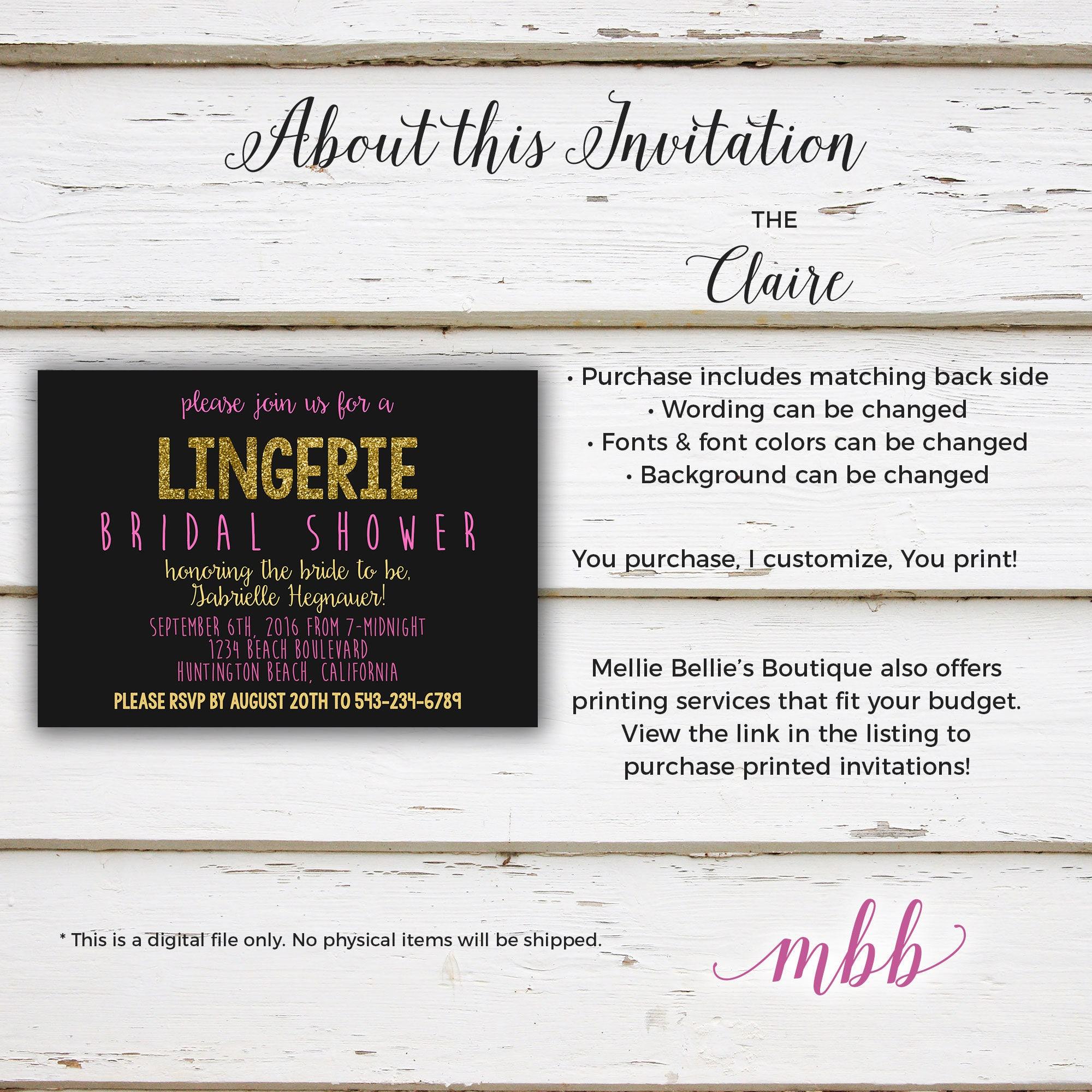 Printable Glitter Lingerie Bridal Shower Invitation, Vegas, Black ...