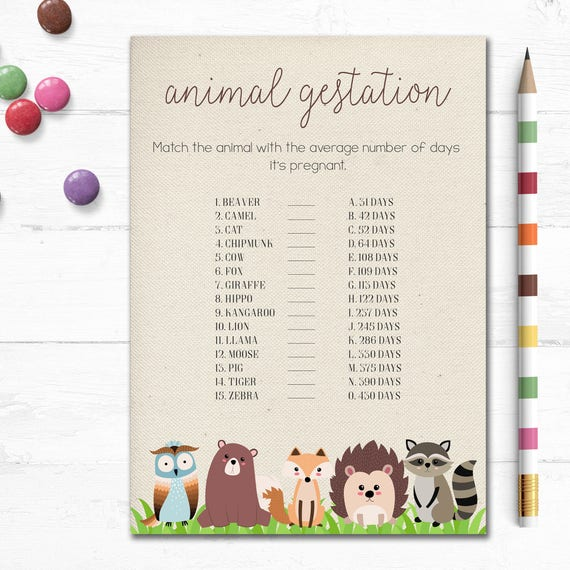 Printable Woodland Baby Shower Game Animal Gestation Game Etsy