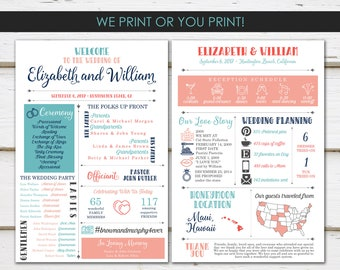 Fun Infographic Wedding Program, Unique Wedding Program, Fun Program, Modern Program, Entertaining, Fun Facts, Printable or PRINTED, MB238