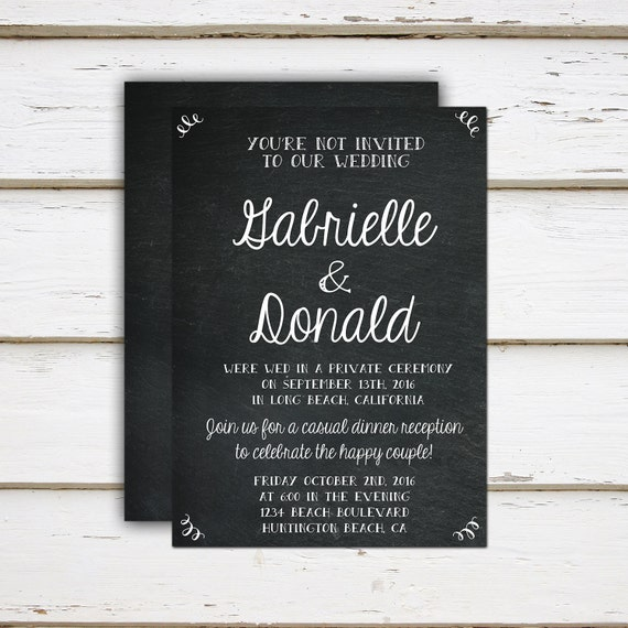 printable elopement reception invitation you re not invited funny