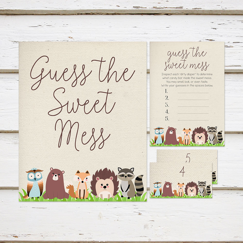 Printable Guess The Sweet Mess Baby Shower Game Woodland Animals